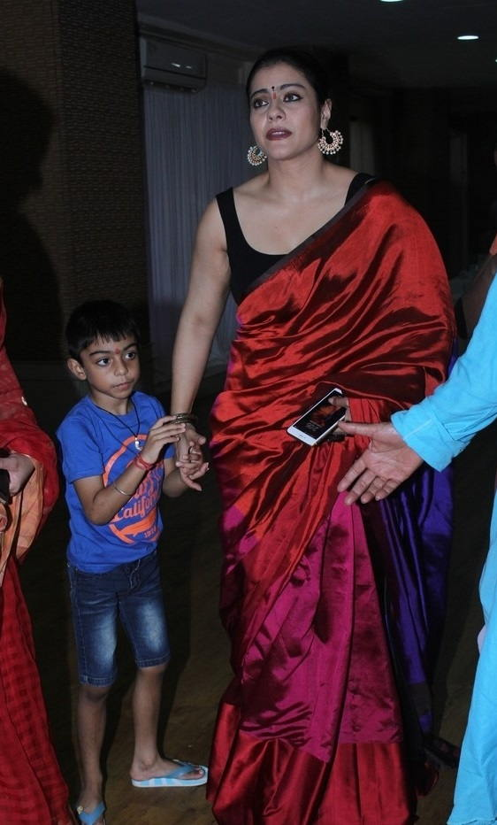 Beautiful Hindi Actress Kajol Stills In Traditional Red Saree