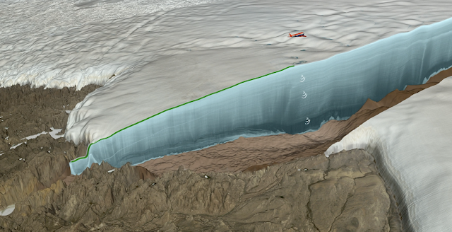 Ice radar survey over Hiawatha Glacier by the Alfred Wegener Institute's Polar 6 research aircraft. Credit: NASA