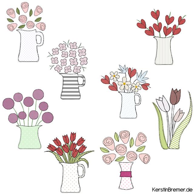 Blumen Doodle Stickdateien