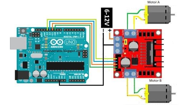 Rangakain Kontrol motor Dc dengan Modul L298N Arduino