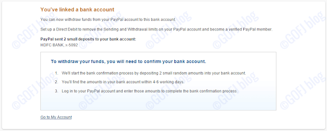 Linked PayPal to one of the Indian bank accounts