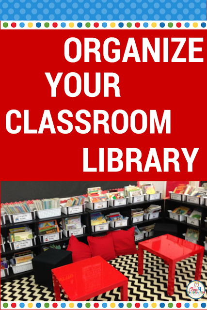 Organize your classroom library in 5 simple steps.  Make your books easy for students to find and put back into the right book baskets.