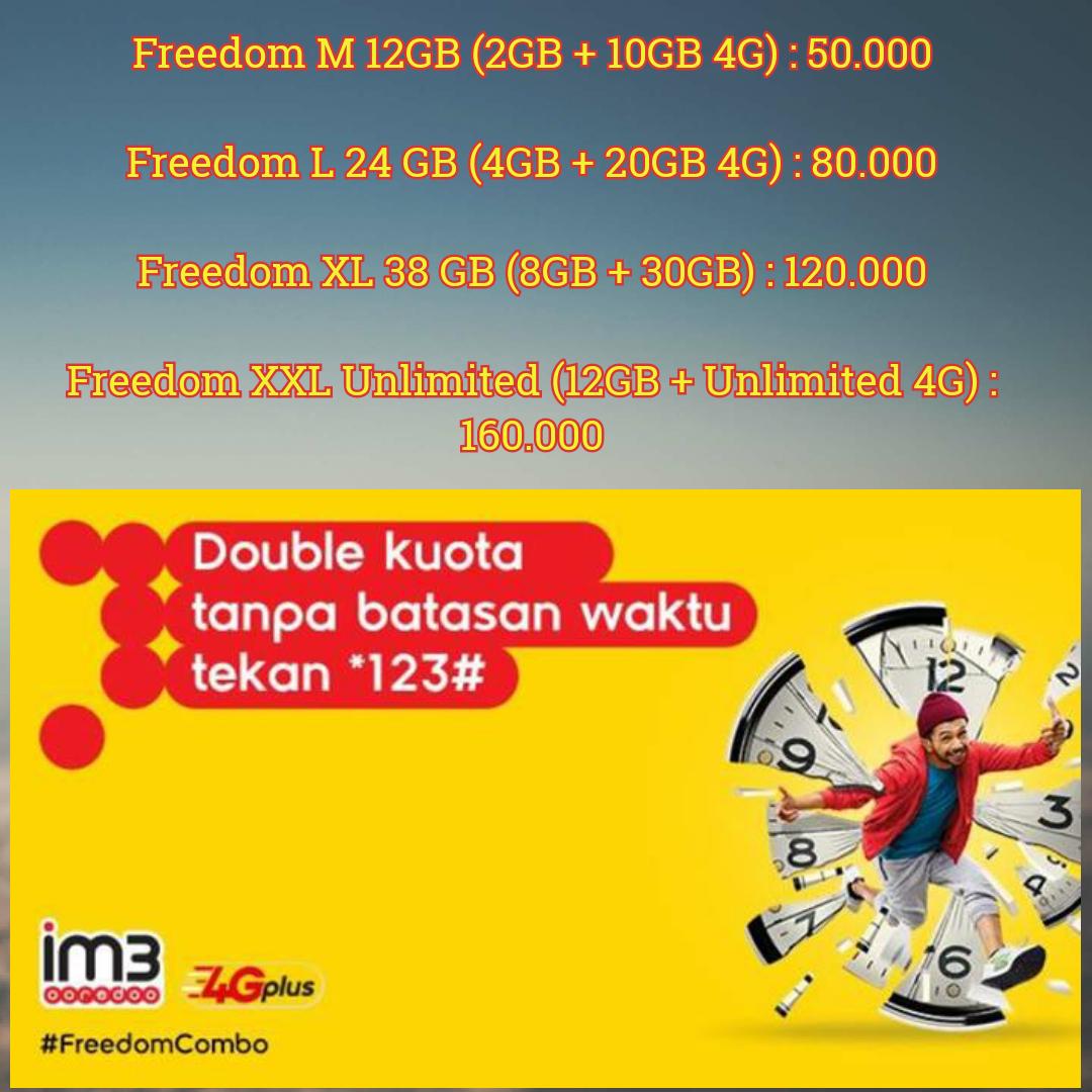 Isi Ulang Kuota Internet Murah All Operator Jual Indosat Freedom Combo L Promo 24 Jam 30 Hari