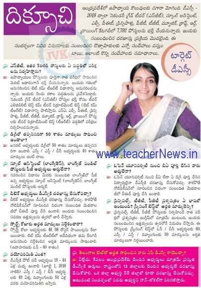 AP DSC 2018 Frequently Asked Questions  Teacher Recruitment Test Doubts Clarifications in Telugu