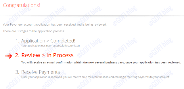 Payoneer India registration procedure completed