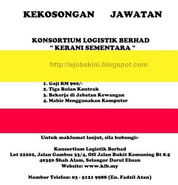 Jawatan Kosong Konsortium Logistik Berhad (KLB)