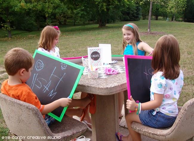 supplies needed to make a chalkboard, foam board, chalk paint, duck tape