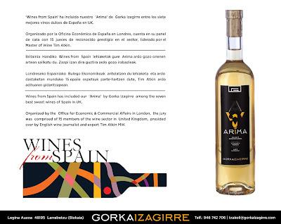 Arima, el txakoli dulce de Gorka Izagirre | Wines from Spain elige Arima de Gorka Izagirre uno de los 7 mejores vinos dulces de España