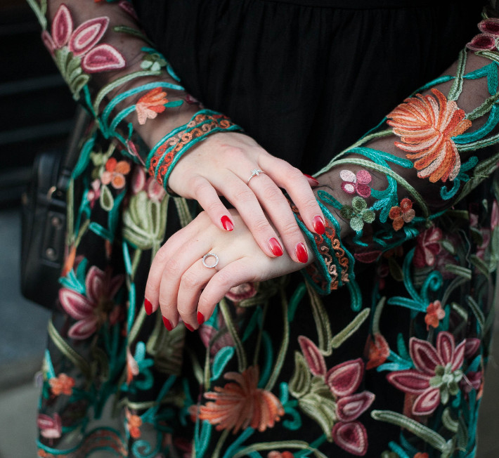 Outfit: floral embroidery dress, starfish jewelry