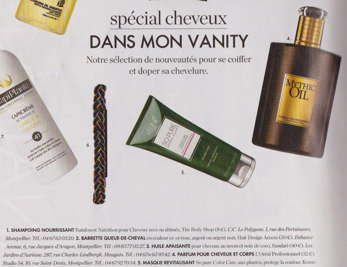 """Un de nos produits sélectionné dans le numéro du 11 avril 2014 du magazine """"Elle"""", édition Languedoc-Roussillon. Le parfum cheveux et corps Mythic Oil de L'Oréal."""