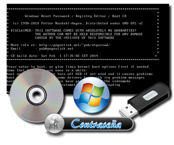 Offline Windows Password & Registry Editor 140201 (ntpasswd) [CD/USB][Potente herramienta para recuperar contraseñas de Windows]