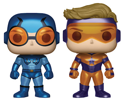 Previews Exclusive DC Comics Booster Gold & Blue Beetle Pop! Vinyl Figures Metallic Variant Box Set by Funko