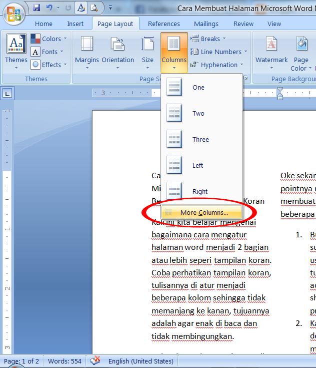 Cara Membuat Halaman Microsoft Word Menjadi Beberapa Bagian Seperti Koran Raumus Com