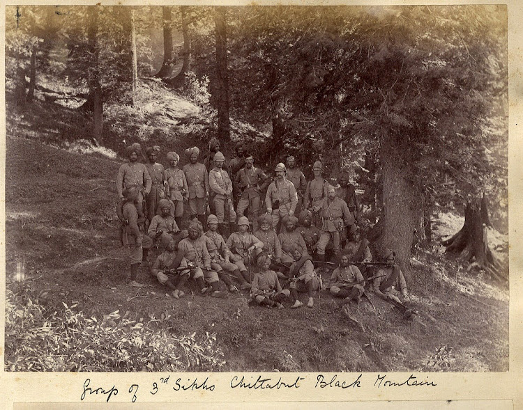 British and Sikh Soldiers in Black Mountain Expedition - 1891