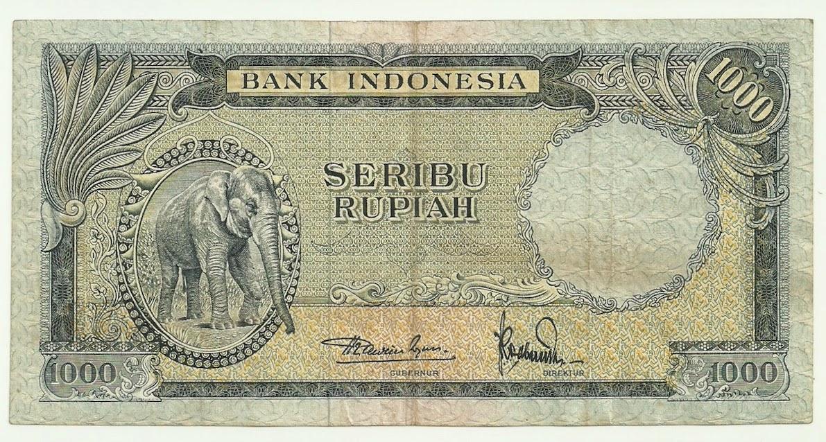 uang kuno Seri Hewan tahun 1957 pecahan 1000 rupiah