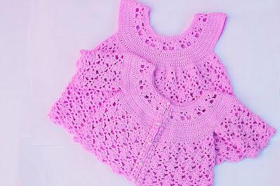 7 - IMAGEN Chaqueta a crochet a juego con vestido rosa para niña muy fácil y rápida Majovel Crochet