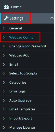 Settings Webuzo Config Panel