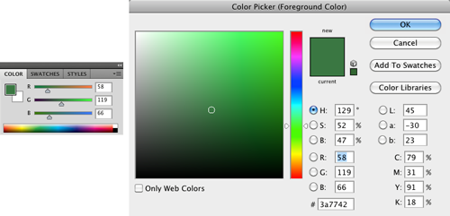 Color selection tools in Adobe Photoshop. Left: simple. Right: detailed