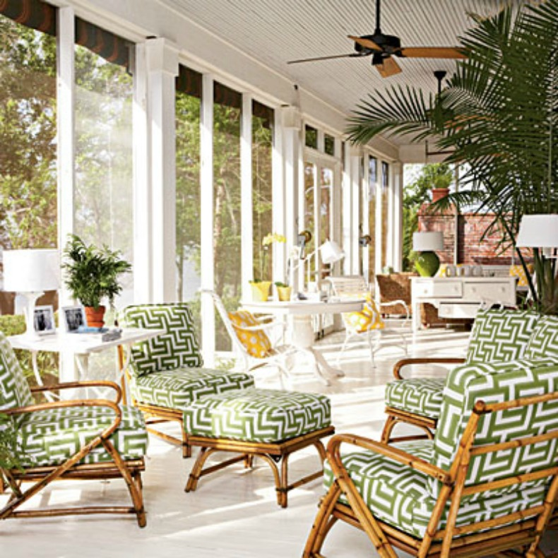 Palm beach style outdoor space, bamboo chairs