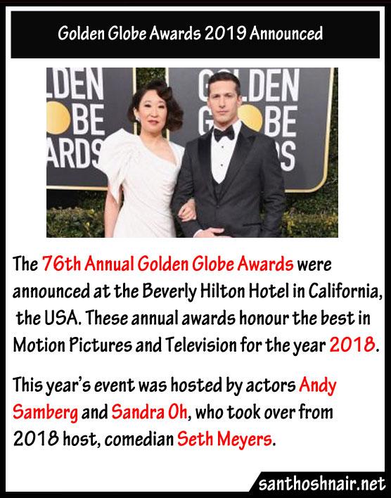 76th Golden Globe Awards 2019 announced