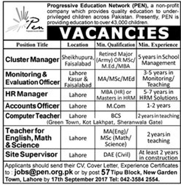 jobs in Progressive Education Network PEN Lahore sep 2017