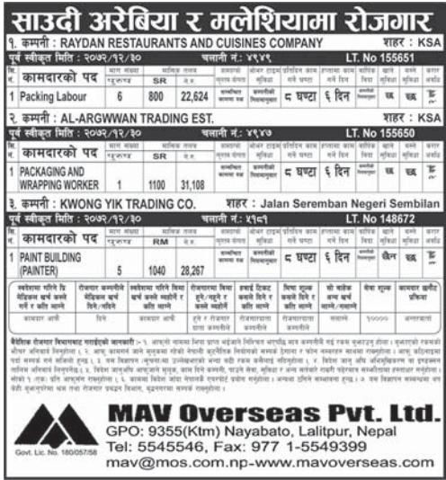 Jobs For Nepali In Saudi Arabia, Salary -Rs.28,267/