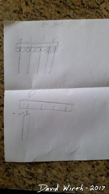 "pvc wall mount shelf, paint cans, caulk, 2"", 3"", 1"""