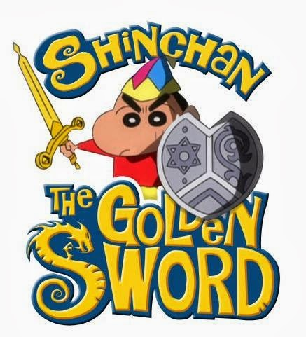 Poster Of Shin Chan Movie The Golden Sword (2014) In Hindi English Dual Audio 300MB Compressed Small Size Pc Movie Free Download Only At worldfree4u.com