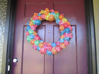 Cocktail umbrella wreath, door wreath, tropical wreath, Hawaiian wreath