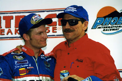 Dale Earnhardt (right) and son Dale Earnhardt Jr.