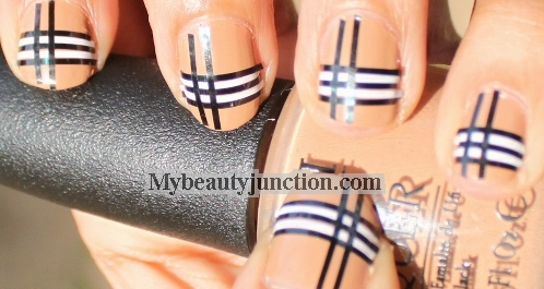 Burberry Plaid Nail Art Design Striping Tape Manicure Tutorial For