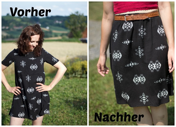 Aus Kleid wird Rock Upcycling Refashion