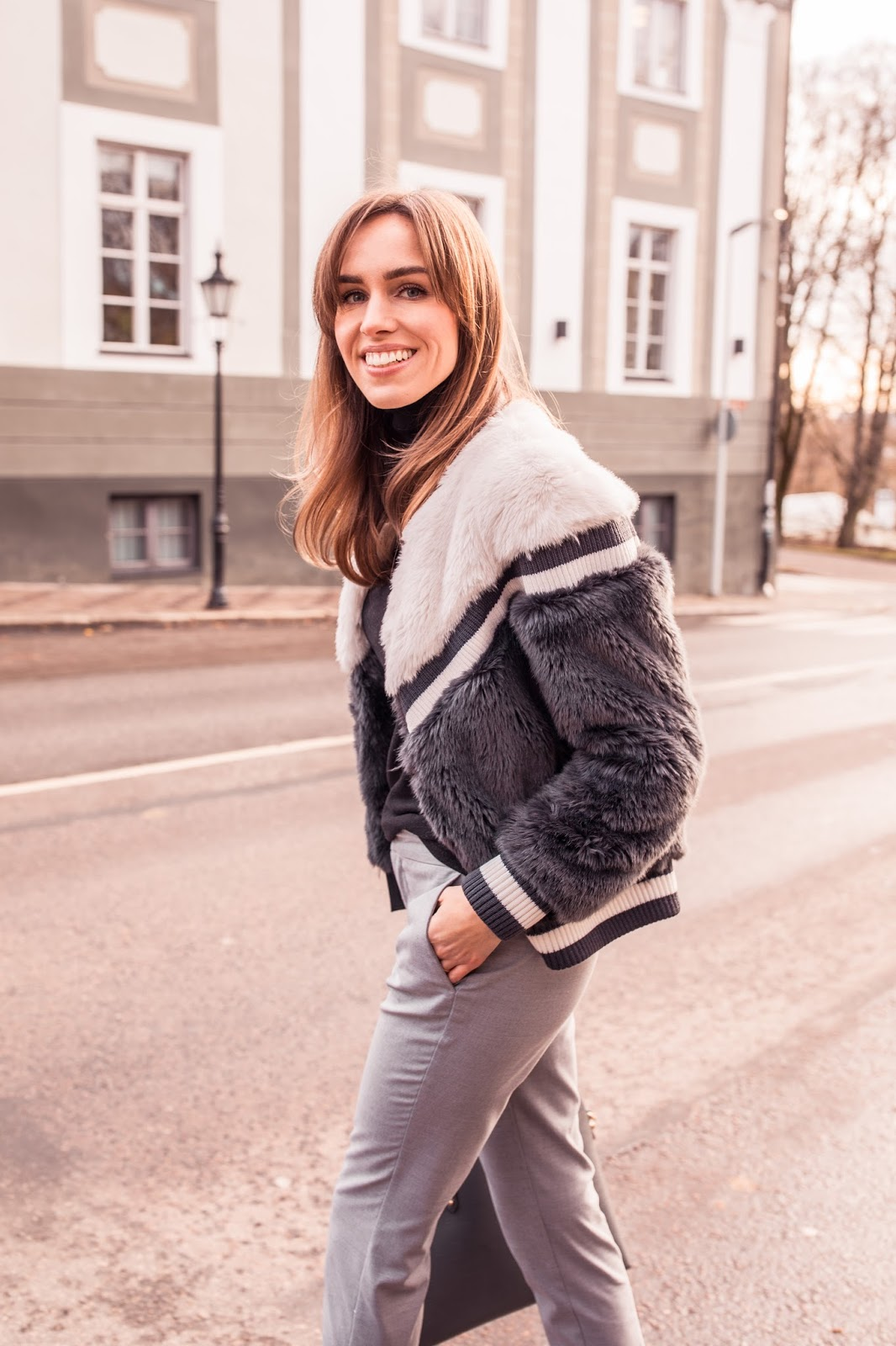 trussardi jeans furry jacket outfit