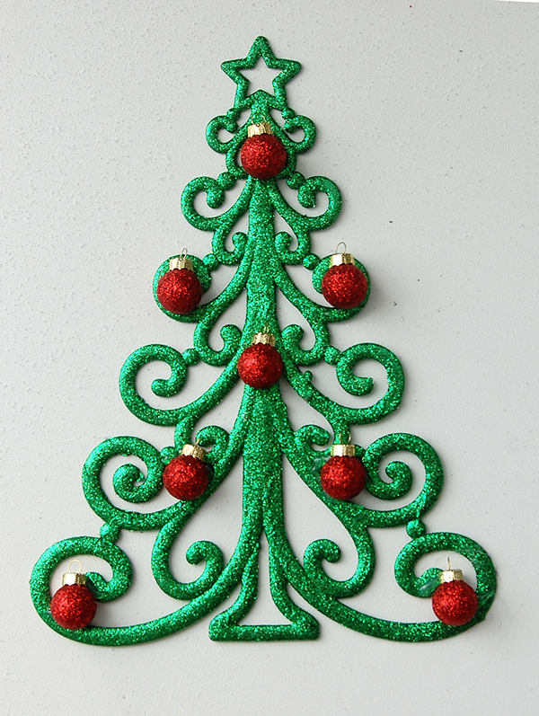 green christmas tree ornament with small red glitter bulbs