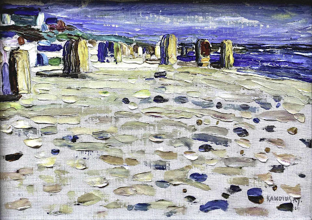 W. Kandinsky painting of cabanas on beach