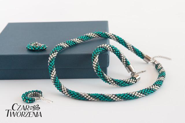 ręcznie robiona biżuteria komplet toho silver lined teal