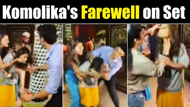 Hina Khan bids adieu cutting farewell cake on set of Kasauti Zindagi Ki 2
