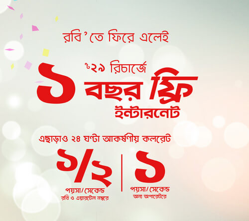 Robi Reactivation SIM Offer 1 Year Internet Free