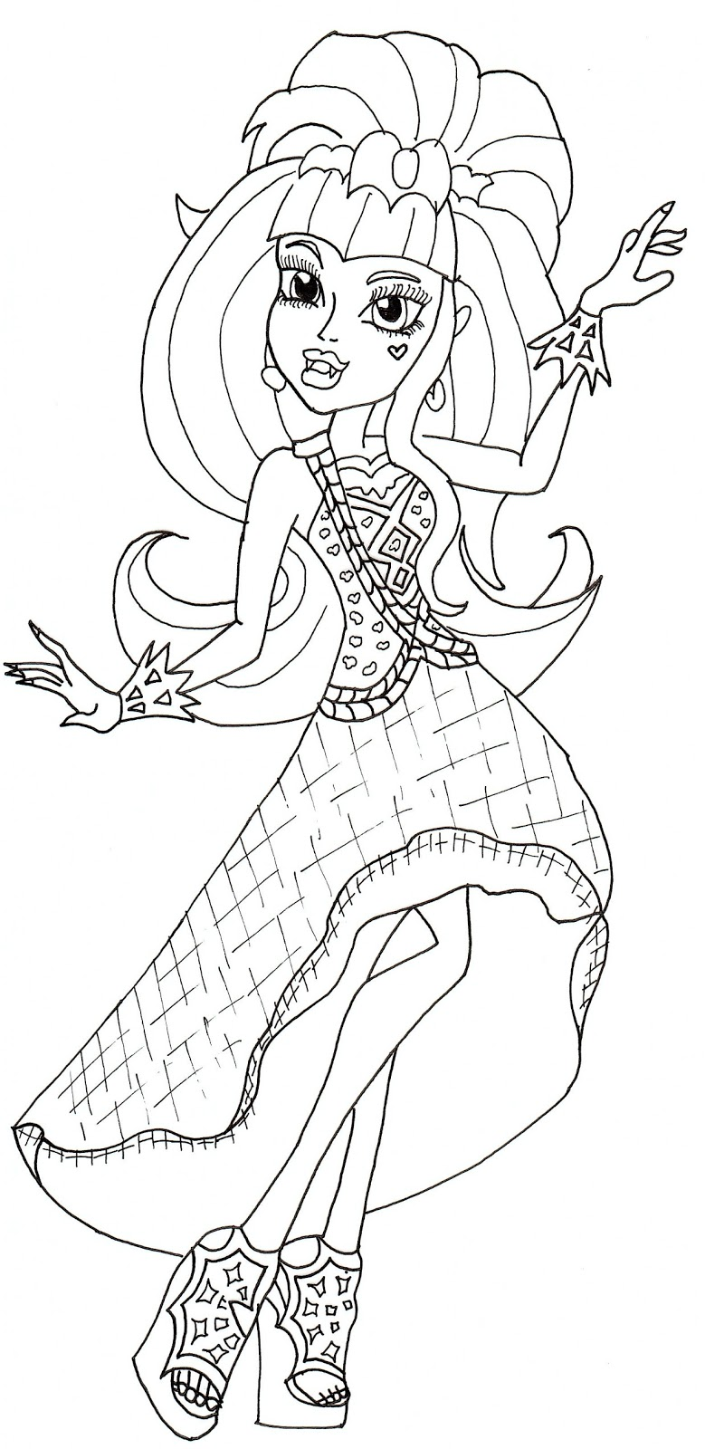Ghoulia Yelps Monster High Coloring Page | Owl coloring pages ... | 1600x779
