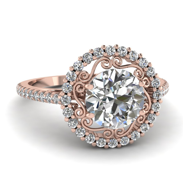 Rose Gold Wedding Band With White Gold Engagement Ring