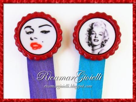 Tappi di bottiglia con Marilyn Monroe per realizzare portachiavi, ciondoli e segnalibri