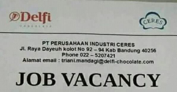 Lowongan Kerja Pt Ceres Bandung Pabrik Coklat Delfi