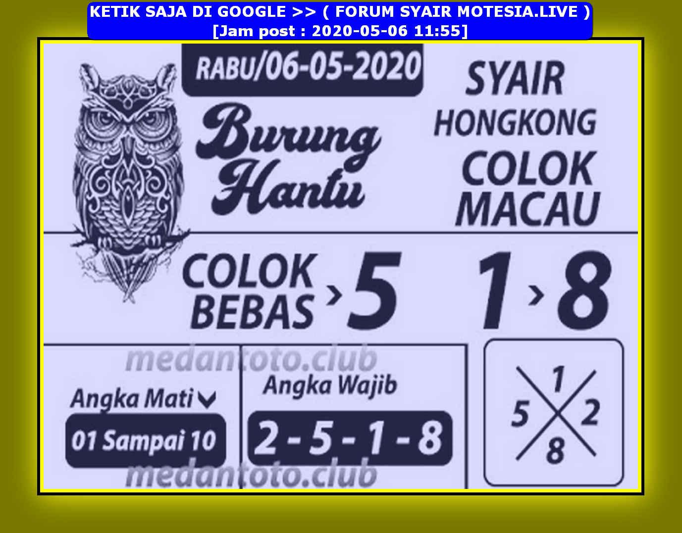 Kode syair Hongkong Rabu 6 Mei 2020 128