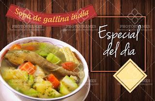 plantilla banner menu comida restaurante sopa de gallina india social media
