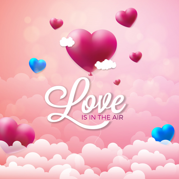 Valentine Heart shape balloon with valentine background and cloud free vector download