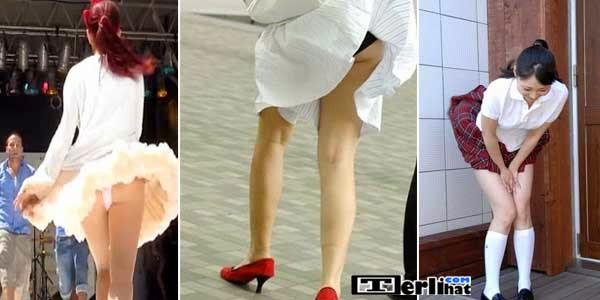 22 Foto Wanita Kelihatan CD Saat Tertiup Angin