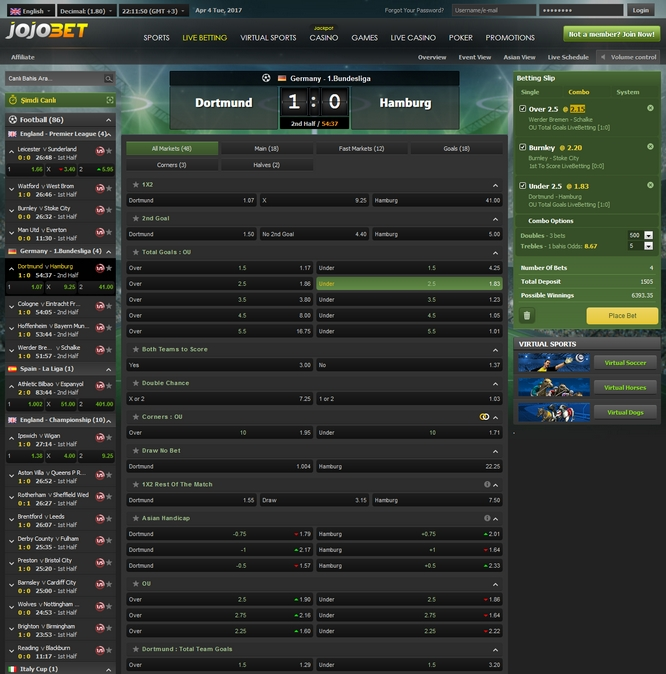 Jojobet Live Betting Screen