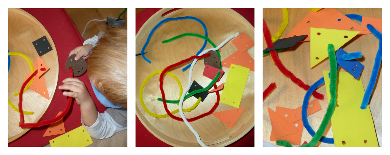 DIY a play set: craft foam threading with pipe cleaners. An early threading activity for toddlers.