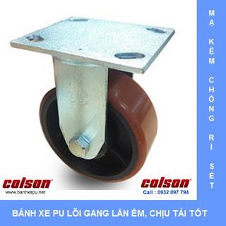 Bánh xe nhựa PU nòng gang chịu tải trọng cao 500kg | S4-6208-959  www.banhxepu.net