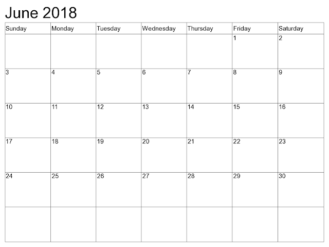 Free June 2018 Calendar Printable - Download Now